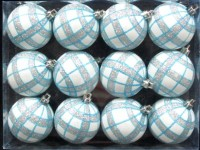 White Ball Ornament with Aqua and Silver Plaid Design 12pk