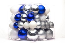 Blue, White and Silver Ball Ornaments, 62PC