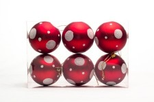 Red and White Ball Ornament with Dot Design 6pk