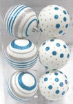 6pk White Ball Ornament with Silver and Aqua Dot and Line Design