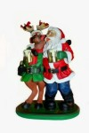 Santa and Reindeer Holding Mugs