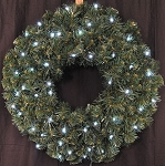 2' Pre-Lit Battery Operated Pure White LED Sequoia Wreath