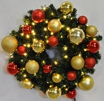 4' Pre-Lit Warm White LED Sequoia Wreath Decorated with the Red and Gold Ornament Collection