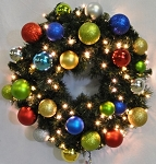 6' Sequoia Wreath Decorated with The Fiesta Ornament Collection Pre-Lit Warm White LEDS