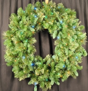3' Blended Pine Wreath lite with Multi Color Lights