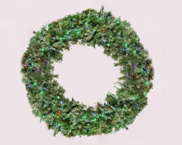 5' Blended Pine Wreath lite with Multi Color Lights