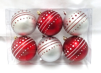Red and White Ball Ornament with Dot Design, 6 pack
