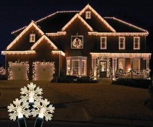 Snowflake Icicle Light Set with Warm White Lights on White Wire