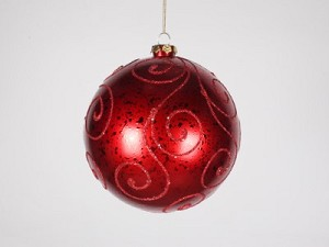 140mm Red Ball Ornament with Red Glitter Design
