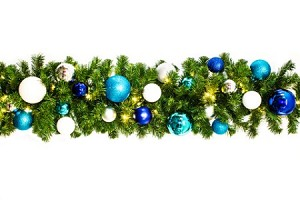 9' Sequoia Garland Decorated with The Arctic Ornament Collection Pre-Lit with Warm White LEDs