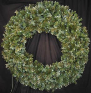 6' Blended Pine Wreath Pre-Lit with Pure White LEDS