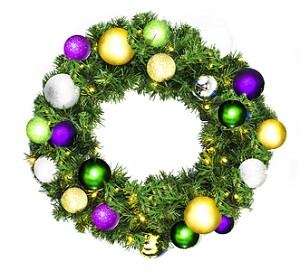 2' Sequoia Wreath Decorated with The Mardi Gras Ornament Collection Pre-Lit Warm White LEDS