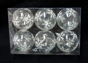 6pk Clear Ball Ornament with Silver Glitter Snowflake