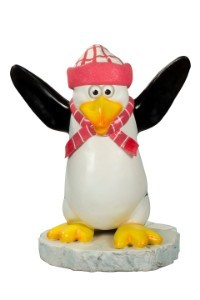 Kipper the Funny Penguin with a Pink Scarf